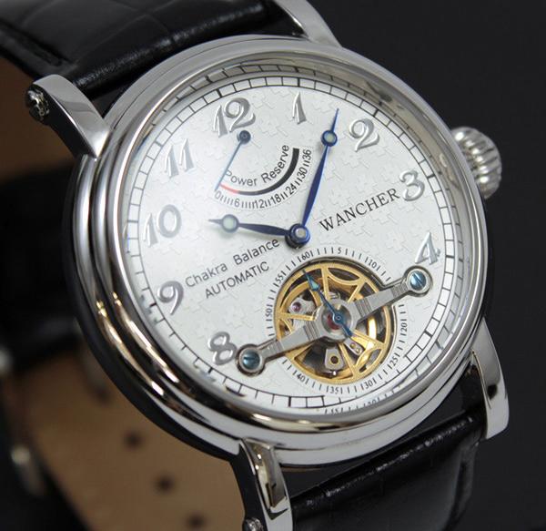 ●WANCHER 「チャクラ」 腕時計『円』を基調としたコンセプトウォッチ 機械式自動巻き時計 パワーリザーブ搭載 限定 白 新品未使用/1514*