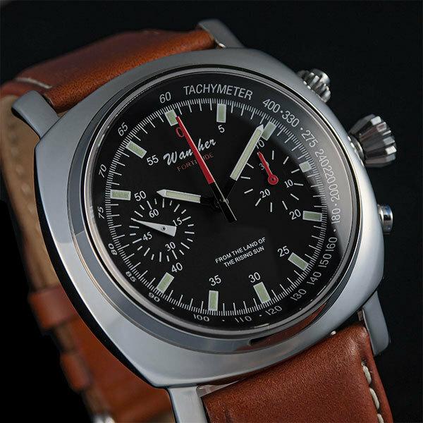 ●伝統の機械式パイロット腕時計 WANCHER「Fortitude」軍用 精密クロノグラフ 革ベルト ブラウン(茶) ステンレス316L ミリタリー 限定/1007