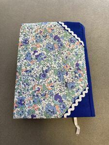 リバティプリント[クレア・オードAE]ブックカバー ハンドメイド 文庫本サイズ