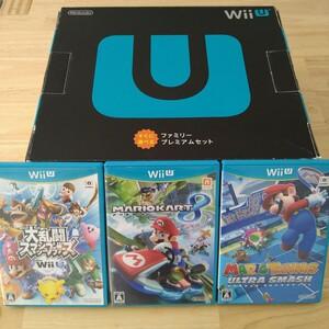 任天堂 Wii U すぐに遊べるファミリープレミアムセット(クロ)+ソフト3本リモコン2本付き
