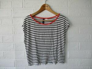 レディース H&M DIVIDED レーヨン100% フレンチ袖 薄手半袖Tシャツ 白黒ボーダー柄 EUR.XS