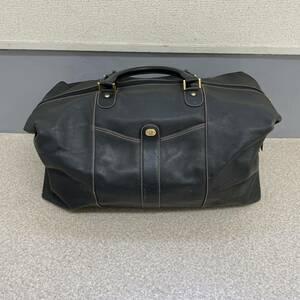 【T1015】dunhill ダンヒル 革 オールレザー 大型 ボストンバッグ 黒 ブラック 旅行 ブランド メンズ 金具 柄 ロゴ 手持ち 鞄 カバン