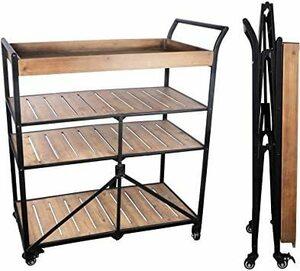 限定価格!メガネ置き折りたたみ式収納テーブル、収納キャビネット、可動式木製テーブル、金属フレーム、屋内収納、屋外バーベキュ4FQ3