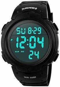 新品Timever(タイムエバー)メンズ デジタル腕時計 大きい文字 見やすい時計 スポーツウォッチ LED表示 アHKYR