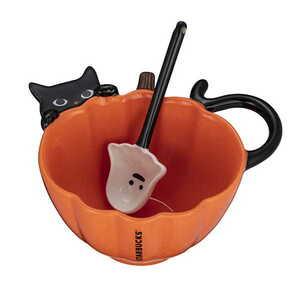 【新品】送料無料♪【台湾 スターバックス】 スタバ 2021年 ハロウィン ネコ 黒猫 幽霊 マグコップ B8
