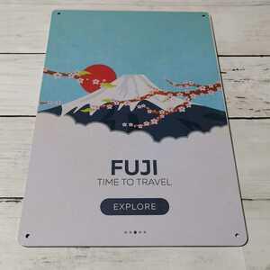 ブリキ看板 レトロ看板 富士山と桜 FUJI