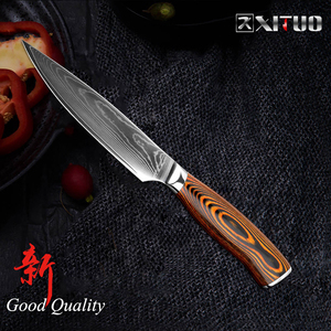 (E3315)★ 激安新品!◆ 高級包丁 XITUO 海外ブランド ペティナイフ ダマスカス鋼 67層 VG10 V金10号 5インチ 果物ナイフ