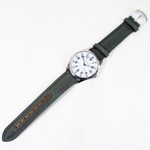 送料無料メール便 シチズン 日本製 ムーブメントファルコン 腕時計 ナイロン/革ベルト オリーブ/白 QB38-304 メンズ 紳士