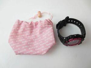 良品 カシオ CASIO Baby-G 稼働品 腕時計 G-LIDE BLX-100 タイドグラフ ピンク 黒 ブラック 収納袋付き 服飾小物