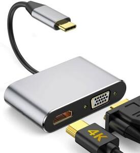 新品 USB C ハブ, USB Type C HDMI「4K@60Hz HDMI+1080P VGA」 変換アダプタ2-in-