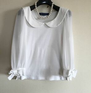 ◆エムズグレイシー◇秋に♪ 丸襟が可愛い!お袖リボン付きカットソー38◆オフホワイト