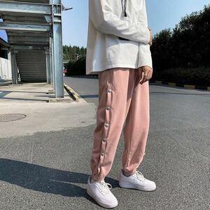 ジョガーパンツ テーパードパンツ サイドボタン ボトムス パンツ メンズ レディース L 原宿系 ストリート ピンク