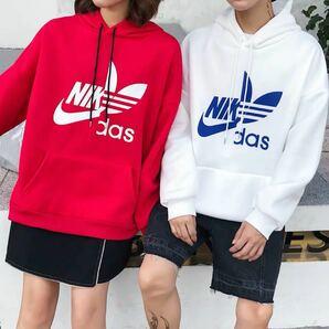 パーカー レディース メンズ トップス フード 選べる色サイズ 原宿系 韓国系 ストリート 赤 白 レッド ホワイト 長袖
