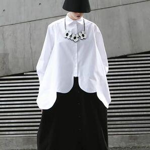 シャツ 変形 モード ブラウス トップス アウター 長袖 白 ホワイト オルチャン ダンス 衣装 レディース M