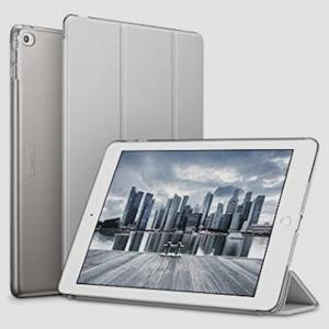 送料無料★ESR iPad Air2 ケース クリア PUレザー [スタンド機能 オートスリープ] (シルバーグレー)