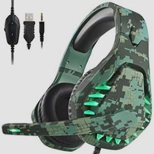 送料無料★ENVELゲーミングヘッドセット ps4 ヘッドホン LED マイク付き 有線 3.5mm 軽量 Camo Green