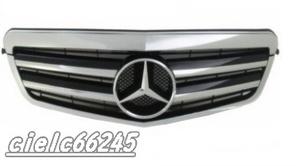 激安!新品 BENZ メルセデス ベンツ Eクラス W212 専用 フロントグリルカバー カスタムグリ二重横フィン グロスシルバー 1PCS
