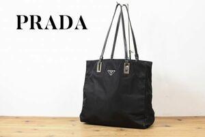 SS A1194 高級 PRADA プラダ ロゴ プレート テスートナイロン トート ハンド セミショルダー バッグ 鞄 ブラック レザー 金具 レディース