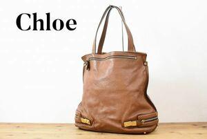 SS A1195 Chloe クロエ セミショルダー トート ハンド バッグ 鞄 レザー レディース ブラウン ZIPデザイン 大きなサイズ 金具 金