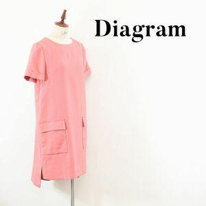 AW A0102 Diagram ダイアグラム グレースコンチネンタル 膝丈 ロング ワンピース ドレス ピンク Aライン 36