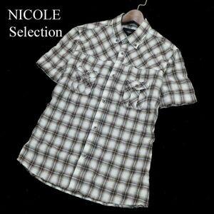 NICOLE Selection ニコル セレクション 半袖 ボタンダウン ワーク★ チェック シャツ Sz.48 メンズ A1T08791_7#A