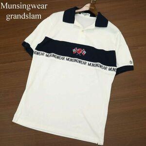美品★ Munsingwear grandslam マンシングウェア グランドスラム ペンギン刺繍 半袖 ポロシャツ Sz.M メンズ 日本製 ゴルフ A1T08702_7#A