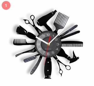 S-334 【デザイン4種類】ヘアサロン 美容師 はさみ ドライヤー モチーフ 壁時計 ビニールレコードのウォールアート 直径30cm