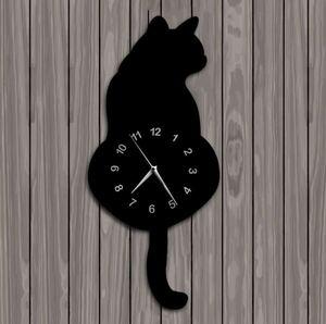 S-336 しっぽが揺れる♪黒猫 振り子 壁時計 猫 スイングテール