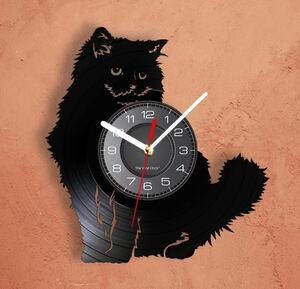 S-335 猫 モチーフ 壁時計 ビニールLP レコード 動物シルエット