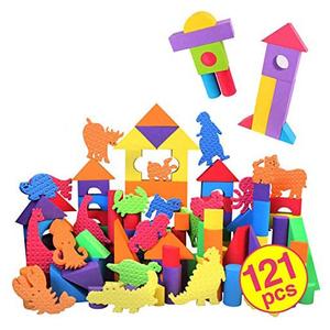 積み木 121ピース 想像力 動物玩具 柔軟 ブロック DIY 知育 収納付き