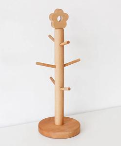 木製 コップスタンド 玄関カギ掛け カップ収納 アクセサリー掛け 6枝