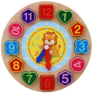 木のおもちゃ 時計 紐通し 数字 積み木 はめ込み 知育 小さなライオン