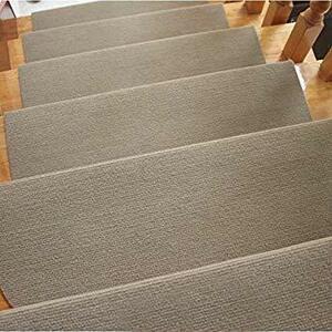 カーキ 65*24cm RAIN QUEEN 階段カーペットマット 防音 キズ防止 滑り止め 滑り止めマット 吸着 ペット 階段
