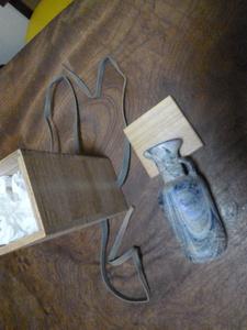 ローマングラス/ガラス/小瓶 約14cm 箱付き/アンティーク