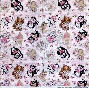 ロラライハリス Tossed Fancy Cats ピンク キャット 110㎝×100cm USAコットン ハンドメイド