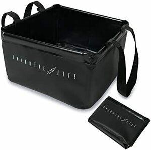 ブラック シアザライフ 折りたたみバケツ エコバッグ 片手持ち コンパクト 大容量 15L アウトドア キャンプ 釣り 洗車 ブ