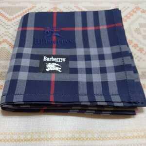 送料無料★ BURBERRY バーバリー ハンカチ ノバチェック ホース刺繍 ネイビー