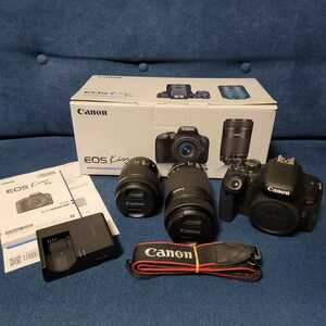Canon EOS Kiss X9i ダブルズームキット EFS 18-55mm 55-250mm 取扱説明書 バッテリー 充電器 中古現状品 通電確認済 美品 キヤノン EF-S