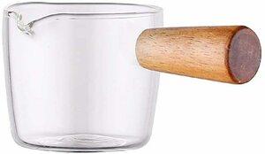 透明 50ml Homornat 和式 木製ハンドル付き ガラス多機能皿 ディップ皿 ミニガラスミルクパン (50ml)