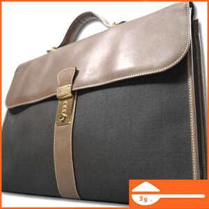 即決★フランス製 dunhill★レザーコンビビジネスバッグ ダンヒル ブラック ブラウン ダイヤル 通勤 出勤 出張 ハンドバッグ 鞄 B167 3g.