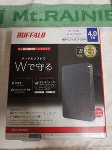 新品 ポータブルHDD 4TB バッファロー BUFFALO HD-PGF4.0U3-GBKA USB3.1(Gen1) ブラック