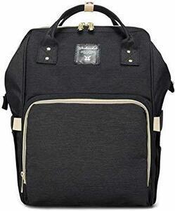 ブラック マザーズバッグ リュック 大容量 保温ポケット 盗難防止ポケット付き 多機能 ベビー用品収納 バッグ 通勤 旅行 出産
