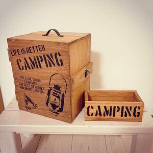 男前 スパイスボックス ほりにし オルテガ柄 キャンプギア 木製木箱 小物入れ昭和レトロ