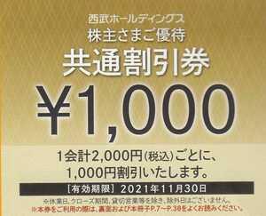 西武ホールディングス 株主優待 共通割引券3000円分