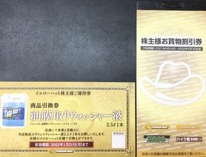 ◆送料無料◆イエローハット 株主優待券 3000円分(300円×10枚) ウォッシャー液 引換券1枚付 有効期限2022年6月30日まで