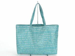 ♪ラミネートトートバッグ⑤ 英字(水色) ハンドメイド エコバッグ レッスンバッグ ビニールバッグ♪