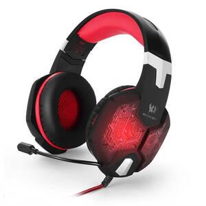 高品質 ゲーミングステレオヘッドホン ゲーム ヘッドセット 高音質 マイク付 LEDライト コントローラー 快適装着 レッド/赤  xq0266