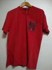 SALE!新品★肩/袖/スソ部分ニット切替Tシャツ ウォッシュ加工(L)レッド