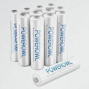 新品 目玉 大容量 Powerowl単4形充電式ニッケル水素電池12個セット R-6M 環境保護 電池収納(1000mAh、?1200回循環使用可能)