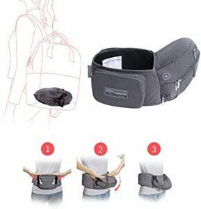 グレー 【ベビーアムール】Bebamour 簡単デザイン 抱っこひも たためるヒップシート ベビーキャリー アルミ製支柱 3wa